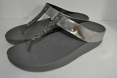 c9dc4a3ae89a12 FitFlop Fino Toe Post Wedge Sandals C89-054 Pewter Silver New 41 Women 9 M