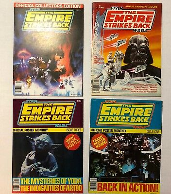 Star Wars Vintage ESB poster and Collector magazines Lot of 4