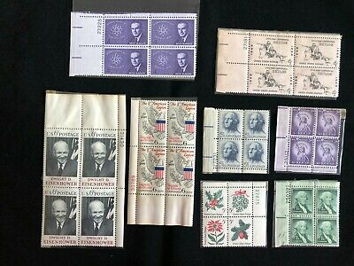 Lot of 12 Vintage Stamp Blocks - Most in NH OG Condition