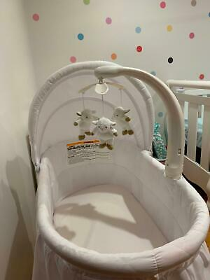 Chloe Rocking Bassinet - White with musical mobile