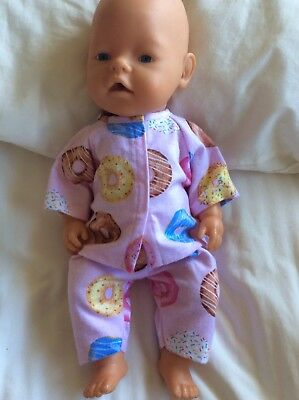 """DOLLS CLOTHES - Pyjamas to fit 17"""" Baby Born doll ~ Pink. Donuts"""