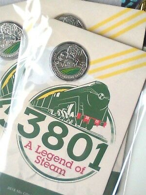 Australia  2018   A Legend of Steam - 3801  Uncirculated 50c Carded Coin.
