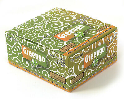 Greengo King Size slim Unbleached rolling paper + tips - 1 box (24 booklets)