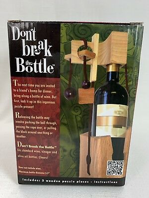 Family Games Don't Break The Bottle Wood Wine Carrier Puzzle Gift - Original NIB