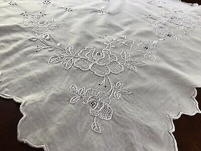 Antique Victorian White Linen Hand Embroidered Runner Roses
