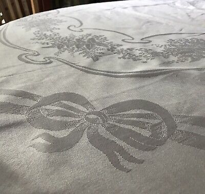 Antique Victorian White Linen Damask Eternal Bow Tablecloth Wreath