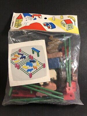 Vintage West German Wooden Zoo Animals Sealed Bag