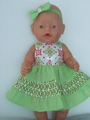 42cm BABY BORN Dolls Clothes / Red & Green Flowers DRESS & HEADBAND