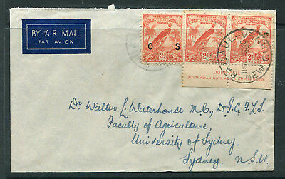 New Guinea 1940 Airmail Cover 2D Imprint &2D Os Commercial Mail To Sydney Vf