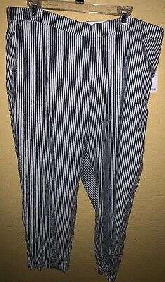 NWT! Old Navy Pants Blue White Striped Linen Blend Harper Size 16