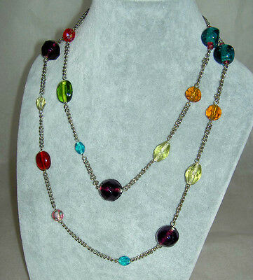 """Vintage Handmade Colorful Assorted Art Glass Beads Silver Chain Necklace 40"""""""