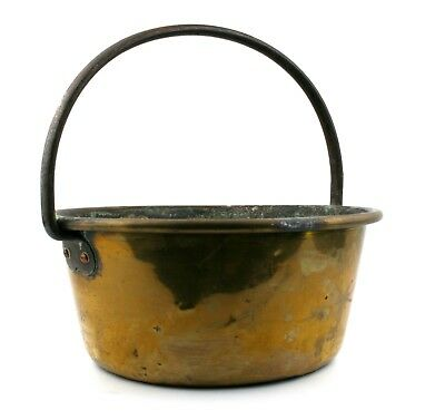 Antique Brass Jam Pan Fixed Cast Iron Handle 29.5 cm Well Used Pot Planter