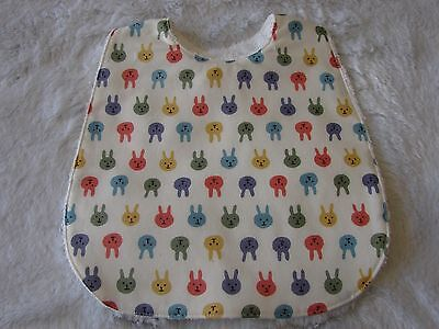 Multi-Coloured Bunnies White Baby Bib Cotton Front Towelling Back Handmade