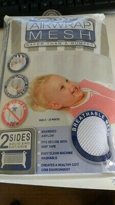 AIRWRAP Mesh Cot Bumper - 2 Sides - White 0-24 months FREE SHIPPING BRAND NEW