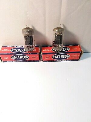 2 X Matched Raytheon Long Black Plate 2 Dimple D Getter 12Ax7