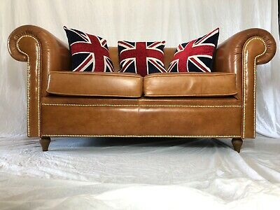 Fine Luxury Handmade Cigar Faux Leather Chesterfield Style 2 Seater Sofa Cognac