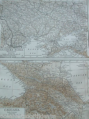 Antique Print 1926 Map Of Southern Russia And Caucasia Atlas Europe Vintage