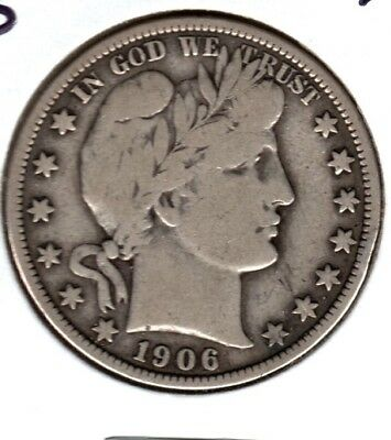 1906-S Barber Half Dollar..you Decide Strong Vg Or A Fine?  #c159