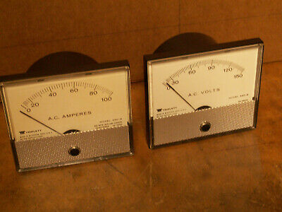 Two Triplett panel meters, type 330-G, 0-150 VAC and 0-100 Amps AC