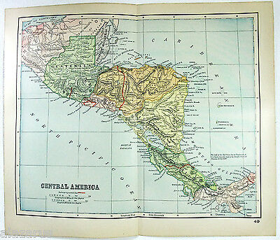 Original 1895 Map of Central America