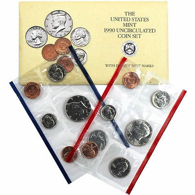 1990 P and D US Mint Set Uncirculated 12 Piece Set BU Coins in Original Envelope
