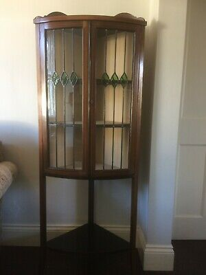 Edwardian glazed corner display cabinet