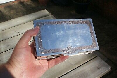 Viners of Sheffield Silver Plated Ex Cigarette Box/ Tinket Box Floral Design Lid