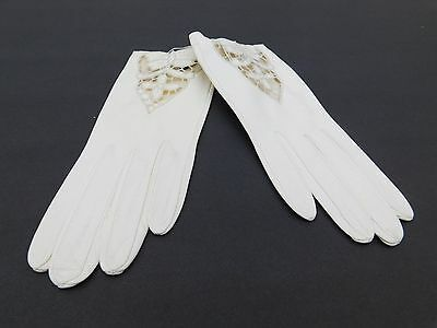 **Designer Ladies Cream Soft Leather Dress Gloves Unlined With Cutouts Size 6.5