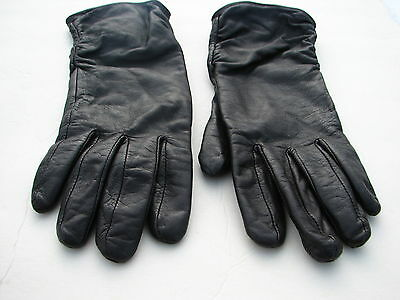 **Designer  Ladies Black Leather Gloves~Polyester Lining  ~ Size M -7.5  ~