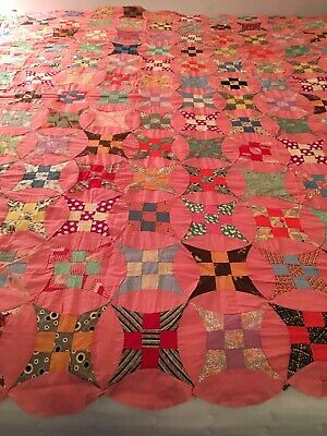 Double Wedding Ring Quilt.Vintage Double Wedding Ring Quilt Top