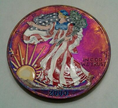 2000 - colorized American Silver Eagle with toned back ground. Beautiful toning