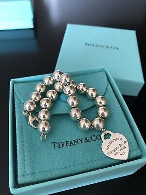 d59f9a947 Tiffany and Co Return to Tiffany Heart Tag Bracelet 8mm Bead Ball Sterling  7.5""