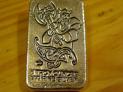 5 Troy Oz Mpm Viking Warrior Poured Bar, Battle Axe  .999 Fine Silver
