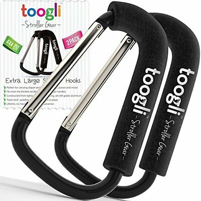 TOOGLI~2 Pack Black Extra Large Stroller Hook Set For Mommy