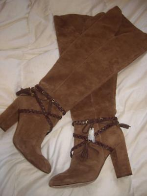 380680604ef Louise et Cie Brown Suede Leather Over The Knee Boots Shoes Block Heel Size  9.5M
