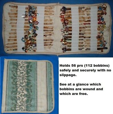 Padded Zip Bobbin Bag Holds 56 Pr Safely And Securely Green/cream Pattern Mat.