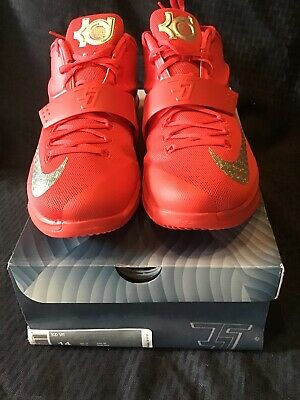 ce6e433bc38e Nike KEVIN DURANT KD VII 7 GLOBAL GAME ACTION RED SILVER GREY 653996-660 Sz
