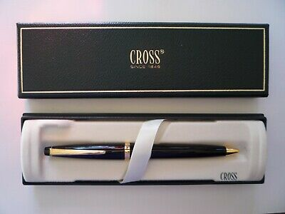 CROSS #802-1 Black Lacquer Ballpoint Pen Gold Tone Accents w/Box