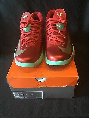 69eb2035ef6b Men s Sz 14 Nike KD VI 6 Kevin Durant Christmas Red Green Gold Shoes 599424-