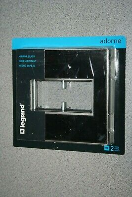 Legrand Adorne Mirror Black Double 2Gang Wall plate Switch Outlet Cover NEW