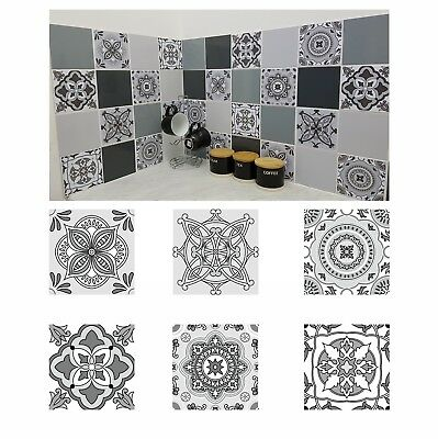 Mosaic Tile Stickers Transfers GREY Azulejo for 200mm x 200mm 8 Inch Tiles G25