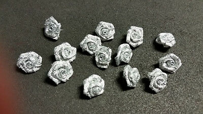50 x 15mm SILVER ribbon ROSES Wedding crafts Cards Scrapbooking Sewing