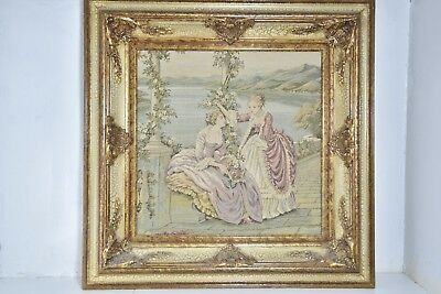 "2 Victorian Women Needlepoint Art Framed Ornate Antique Vintage Picture 28""x28"""
