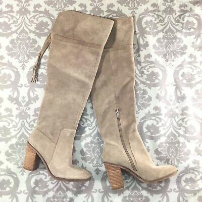 bda77476f81 Franco Sarto Womens Boots size 8 new Tan Suede Over The Knee Boots Shoes  Heels