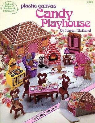 Candy Playhouse, Gingerbread Family & Carry Case plastic canvas pattern book NEW