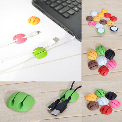 5pcs Adhesive Wire Cord Cable Drop Clips Ties Organizer Holder Line Set Random