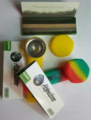 Silicone Pipe LOT x2 HEMP PAPERS x3 UNBREAKABLE Smoking Pipes FREE USA SHIPPING!