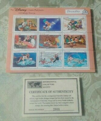 DISNEY CLASSIC 50th ANNIV. FAIRYTALE STAMPS*PINOCCHIO*LTD. EDITION*NEW/PACKAGE