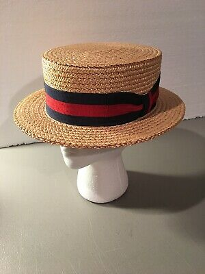 3b799190acf Vintage Brooks Brothers Great Gatsby Straw Boater Hat Size 7 1 2 Unworn  Italy