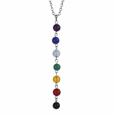 Seven Chakra 7 Natural Gemstone Bead Necklace Pendant Jewelry Healing Yoga NL197